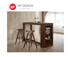MF DESIGN Atlas Bar Table + 2 Solid Stool (Modern Deisgn) [Full Solid Rubber Wood]